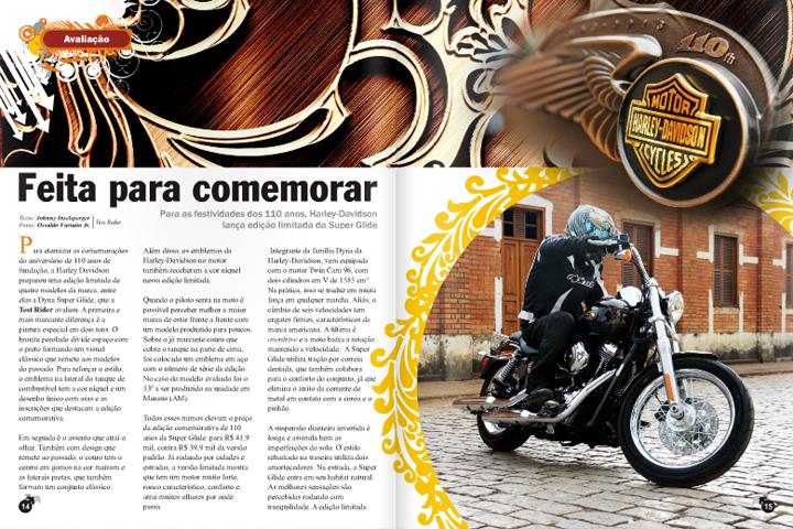 Design de página para a revista Test Rider